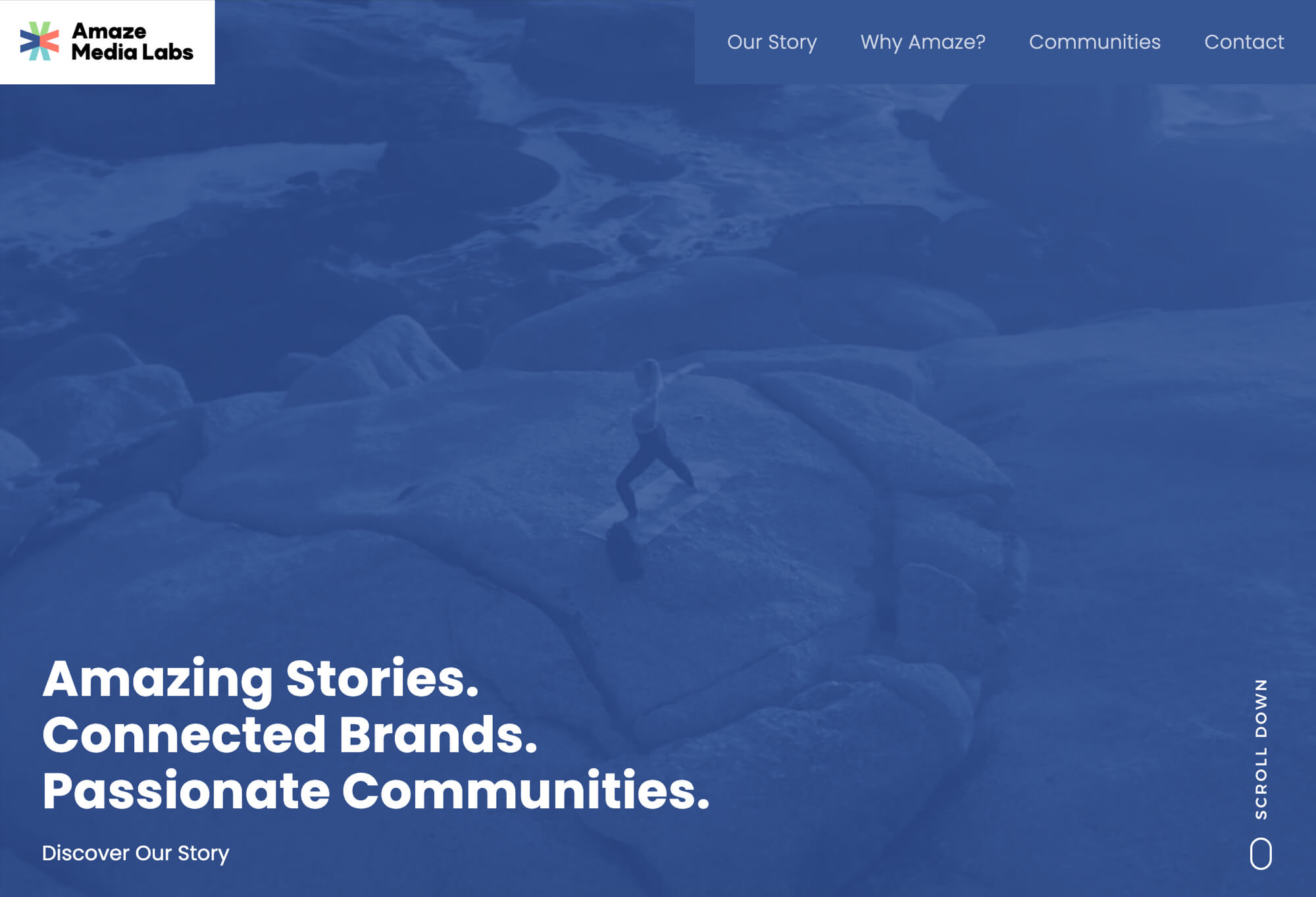 Homepage screenshot of the Amaze Media Labs website